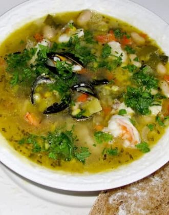 bowl of seafood soup