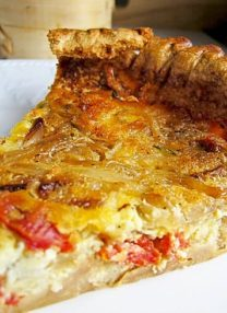 slice of bacon and tomato quiche