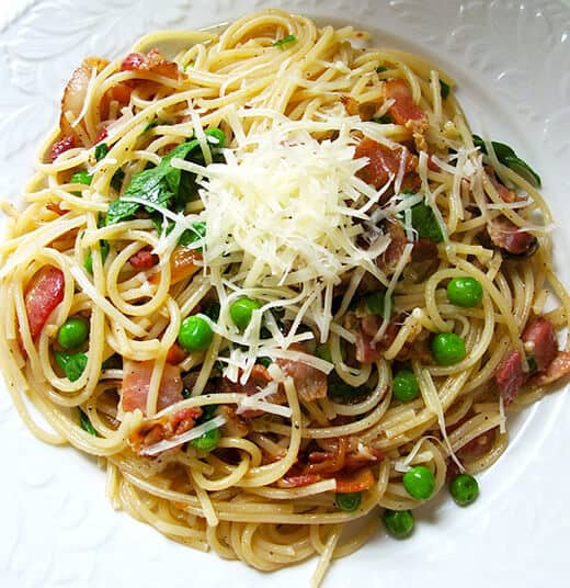 Spaghetti with Bacon, Thai Chilies and Peas