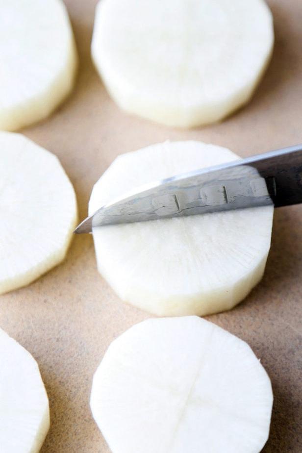 sliced daikon radish
