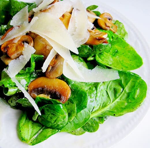 Mushroom and Spinach Salad