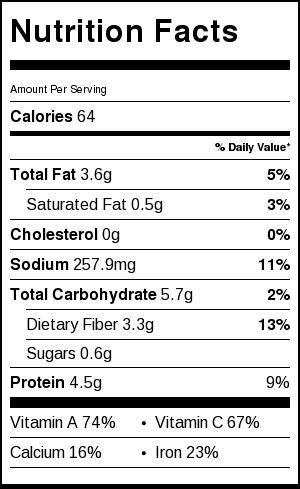 oshitashi nutrition facts