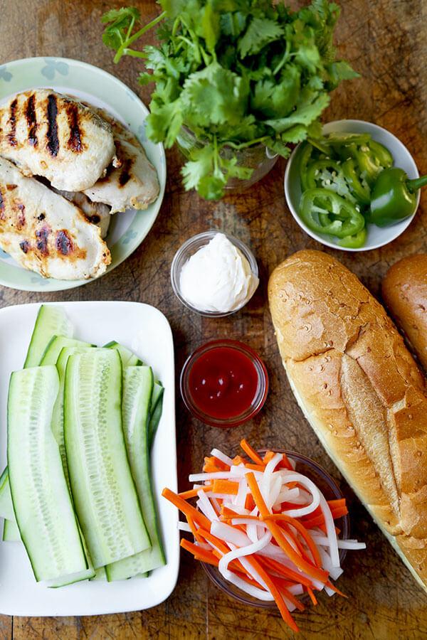 Vietnamese banh mi sandwich ingredients