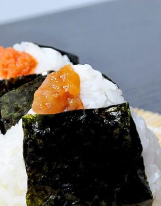 Onigiri with umeboshi and mentaiko