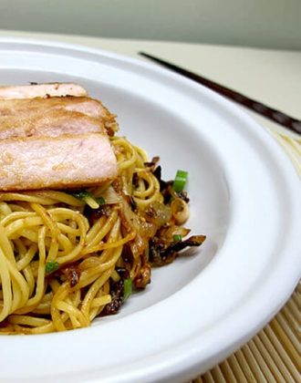 pork and egg noodle bowl
