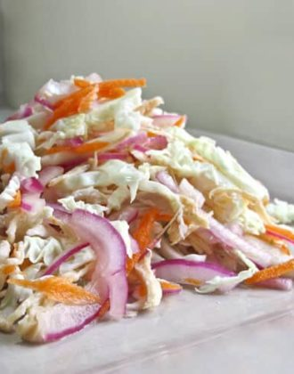 Plate of cabbage slaw