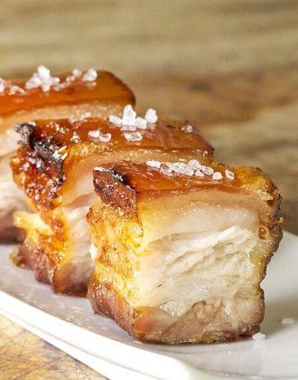 sliced pork belly