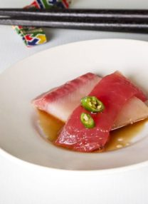 yellowtail and tuna sashimi