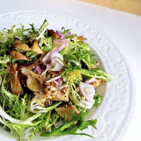 Braised Frisee Salad with Oyster MushroomsSauteed Frisee