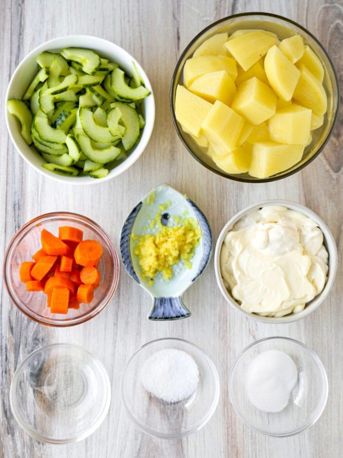 Ingredients for Japanese potato salad