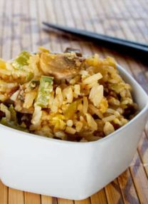 Thai fried rice with celery and mushrooms