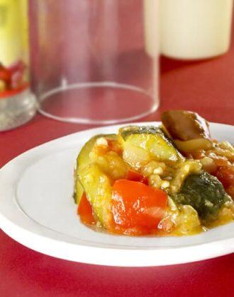 vegetarian ratatouille with zucchini tomatoes and eggplant
