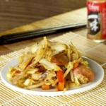 Japanese vegetable stir fry with sausages