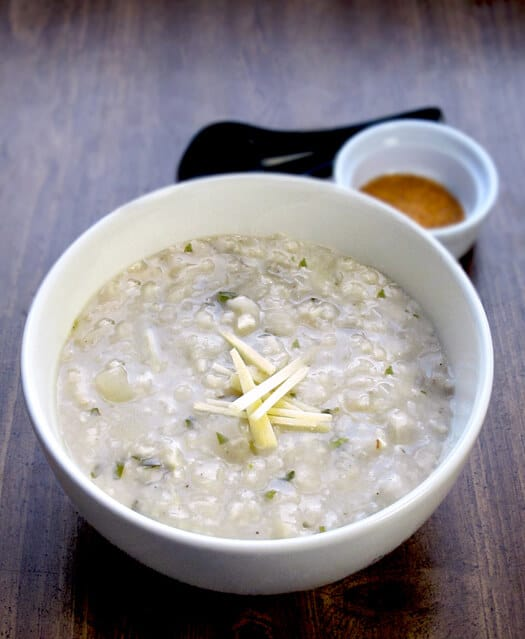 ginger and garlic asian rice porridge