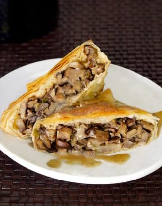 mushrooms with coconut phyllo dough