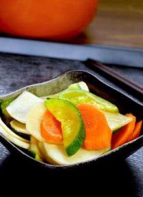 Japanese pickles tsukemono carrot zucchini