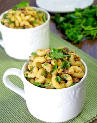 chinese style macaroni and beef dinner