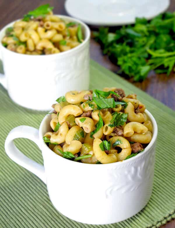 Beef macaroni with soy