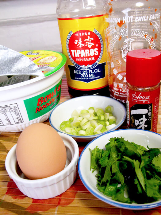 egg, cilantro, fish sauce, ichimi and scallions