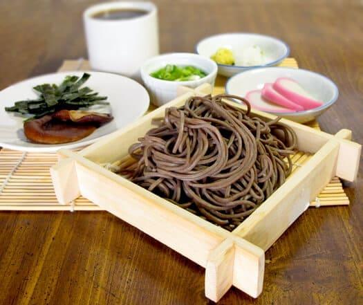 tsuyu with soba noodles and wasabi