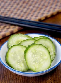 cucumber pickled in rice vinegar and sugar