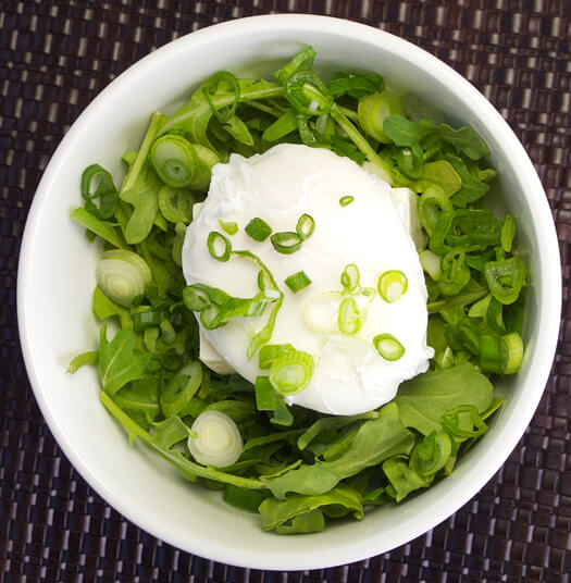 arugula, tofu and poached egg