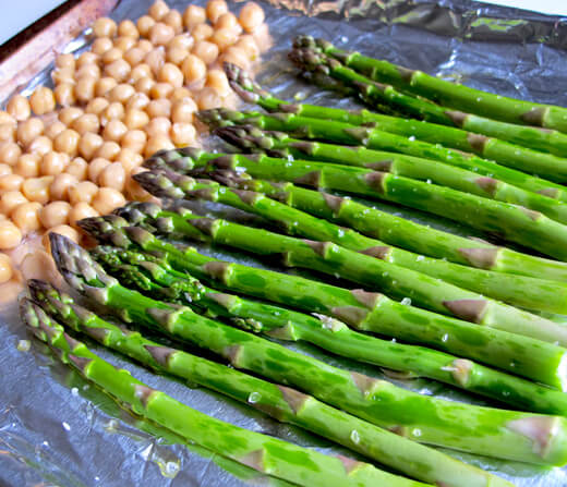 roasted chickpeas and asparagus