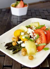 roasted asparagus salad with tomatoes and potatoes