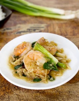 shrimp stir fry with scallions and ginger