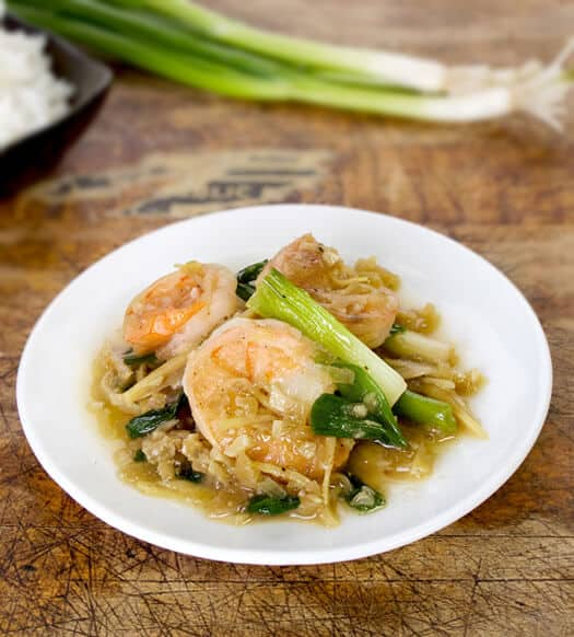 Ginger shrimp stir fry
