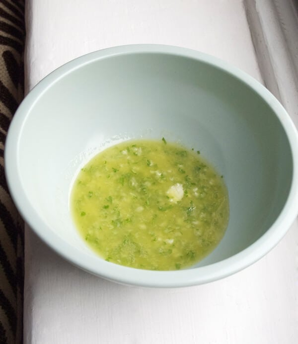 bowl of oil and vinegar pesto