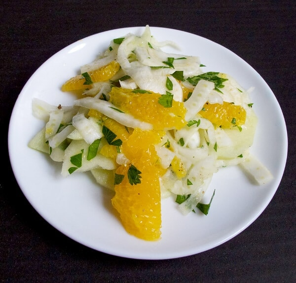 fennel apple orange salad with parsley and lemon