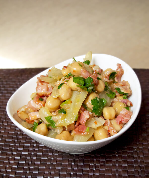 Warm chickpea fennel salad