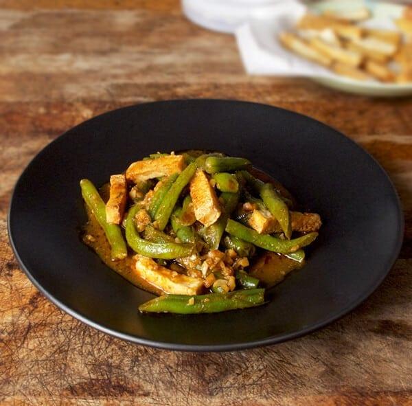 plate of Thai tofu green beans