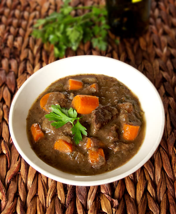 boeuf bourguignon with carrots and beef