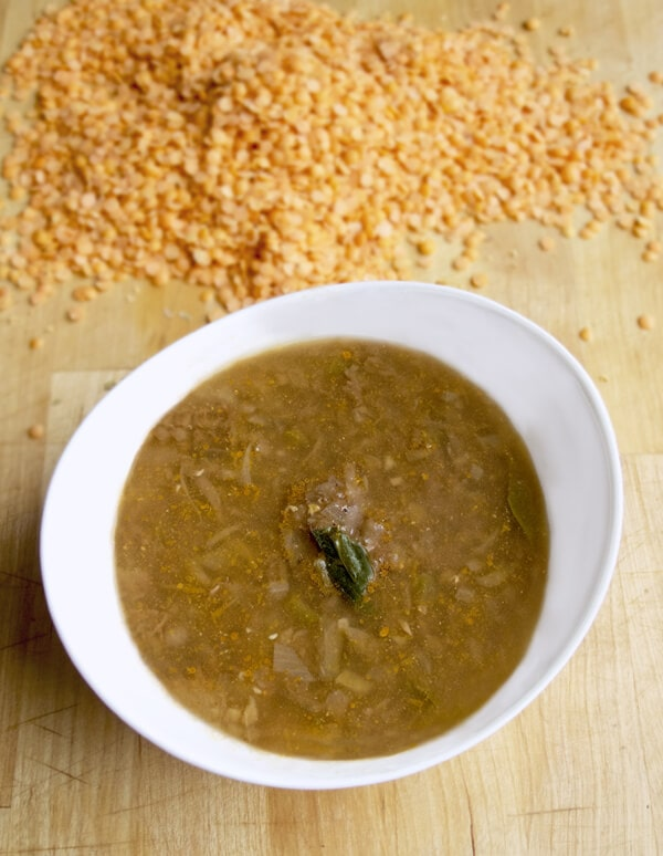 dal soup with ginger and jalapeno