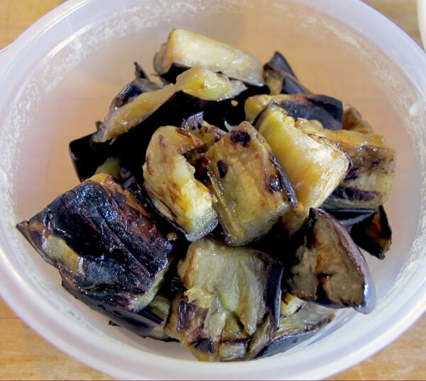 bowl of cooked eggplant