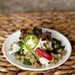 lentil chard salad with yogurt tahini