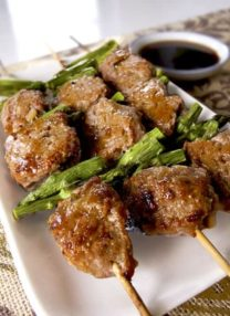 tsukune chicken meatballs with asparagus