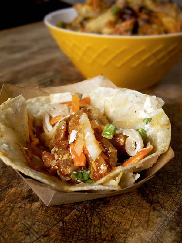 kimchi grill fried chicken taco