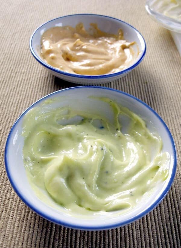 wasabi mayonnaise and sri racha