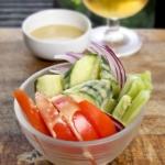vegetable salad with miso lemon dressing