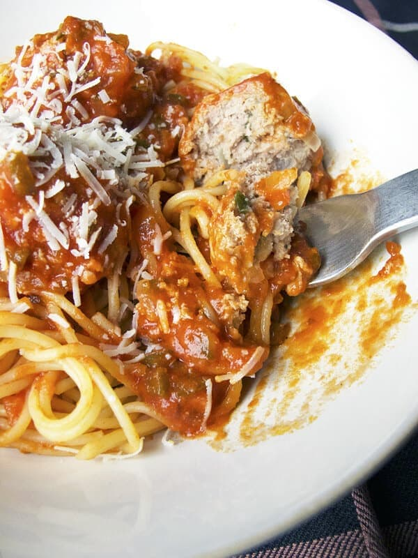 spaghetti with turkey meatballs
