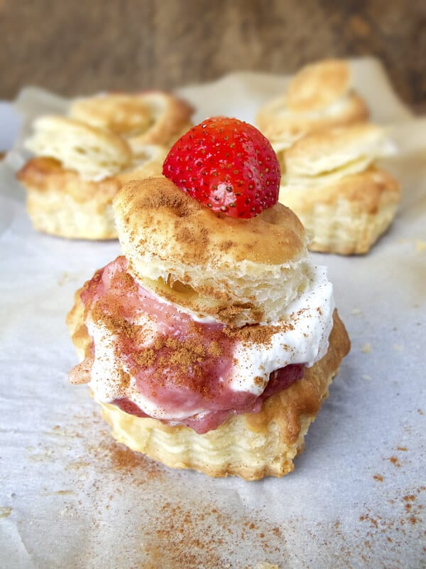 Strawberry banana puff shells