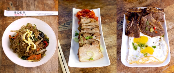 Boka sides (from left): Jap chae, pork belly with spicy pickled daikon, Korean steak and eggs with kimchi fried rice.