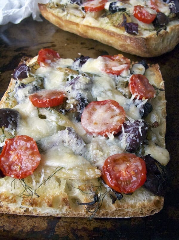 Fennel and black olive ciabatta pizza