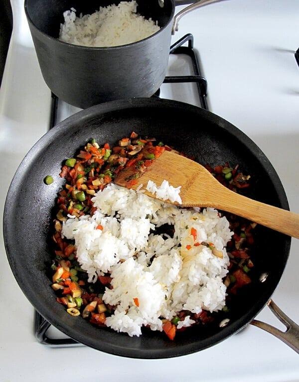 rice and veggies in pan