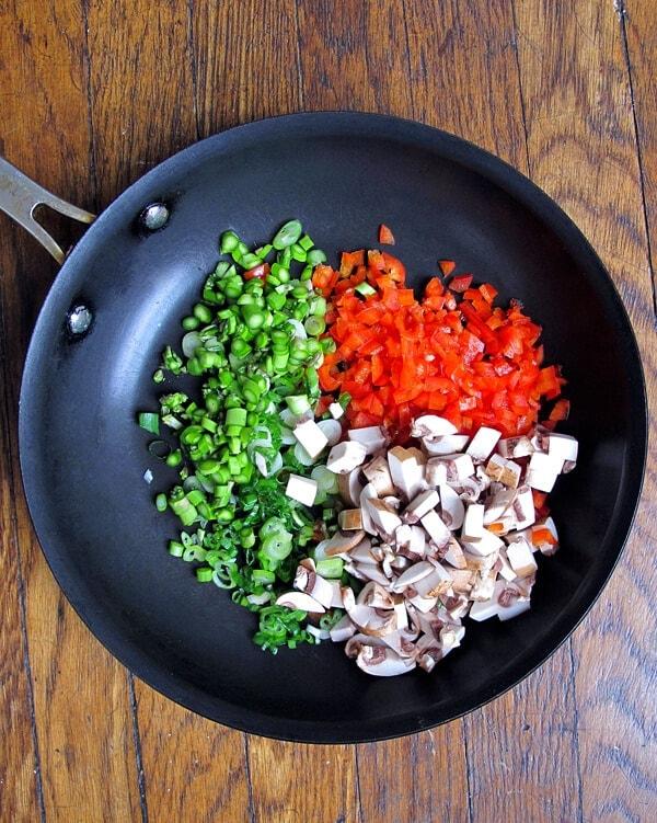 veggies in pan