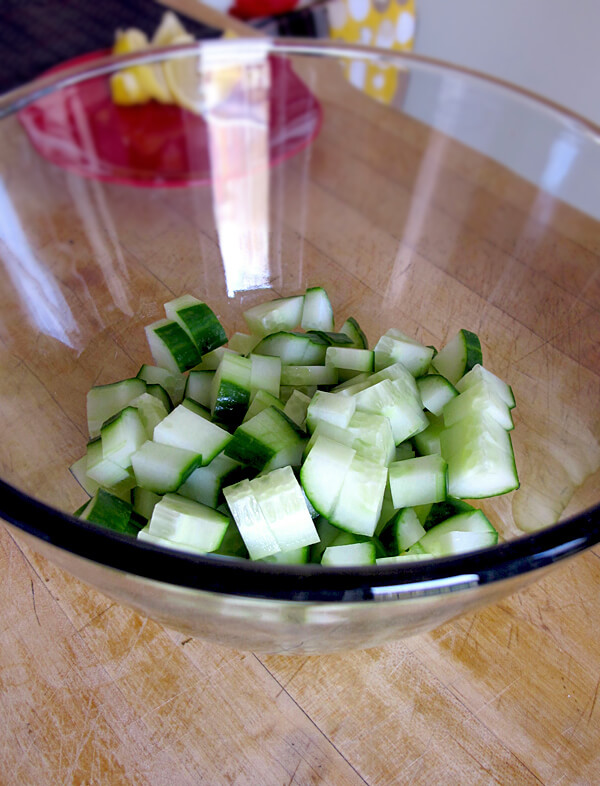chopped cucumber