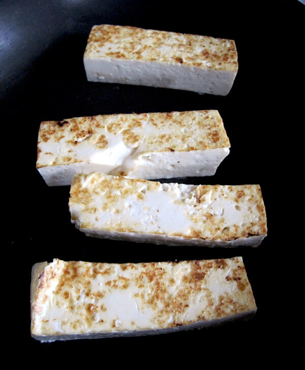 frying tofu